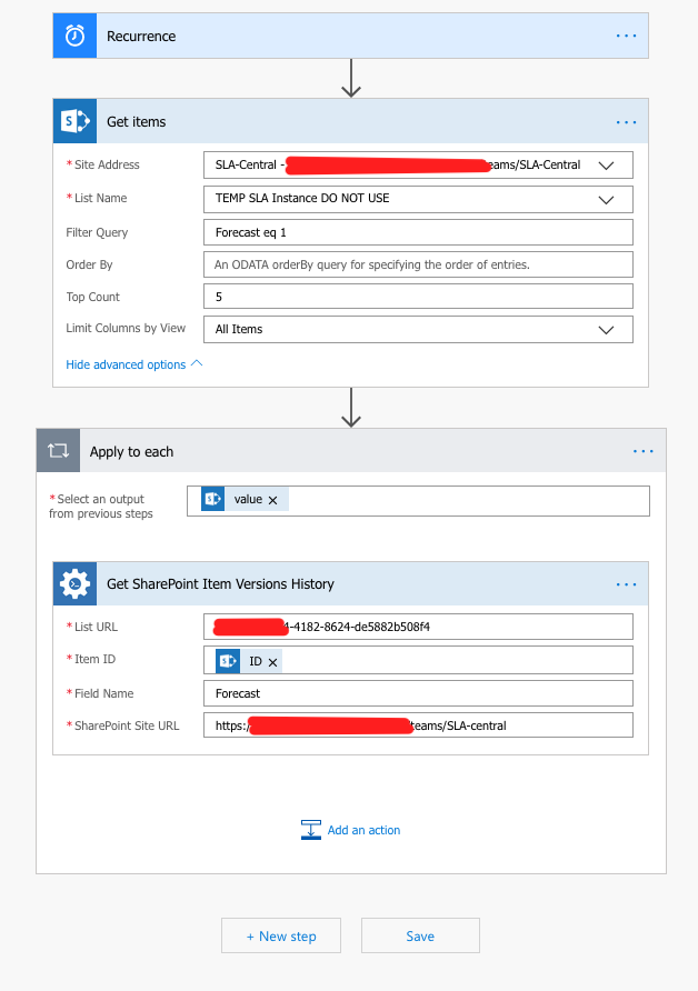 Get Sharepoint Item Versions History - Actions - Plumsail